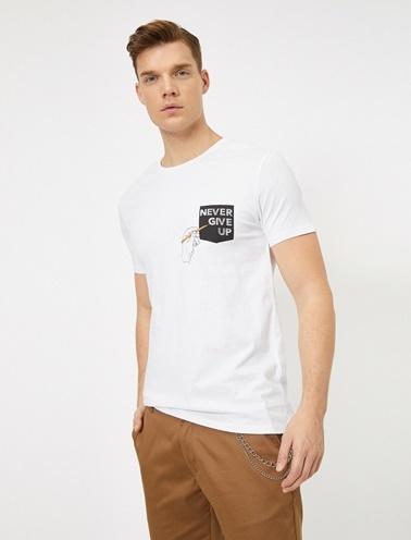 Koton Baskili T-Shirt Beyaz